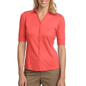 ® Ladies Silk Touch™ Interlock Button Front Polo